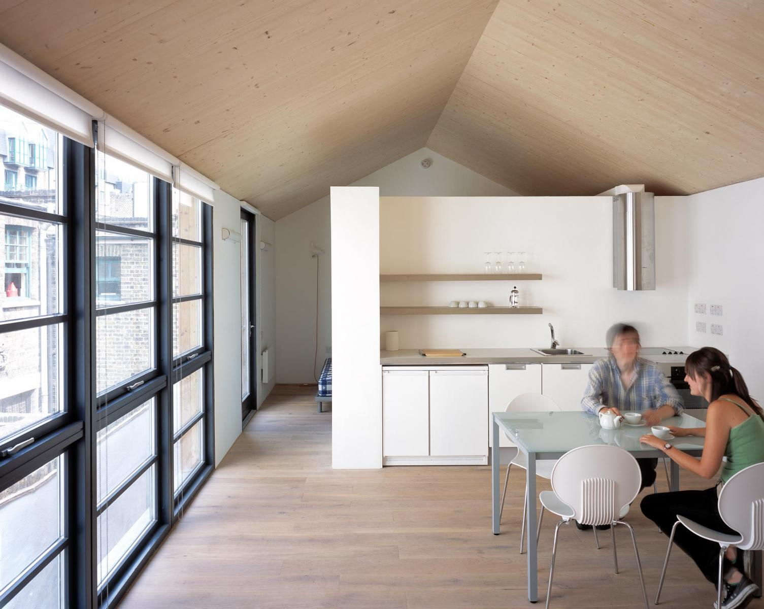 Carlisle Lane Flats, London - View of the Kitchen at exposed timber roof