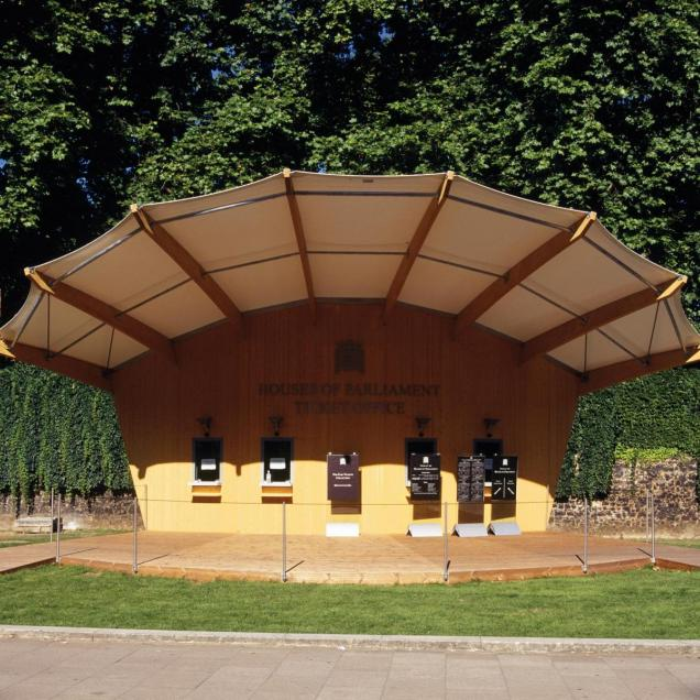 Ticket Pavilion for Summer Opening of Houses of Parlament - Front View